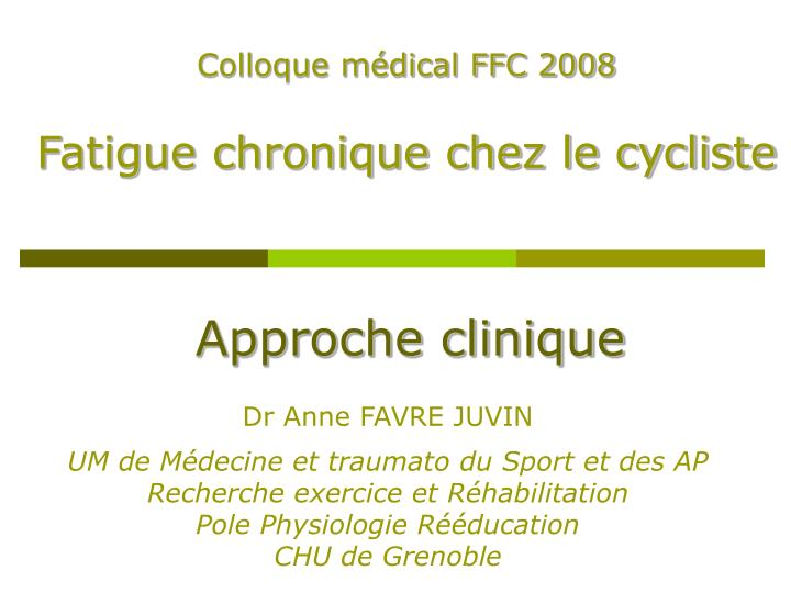 Colloque médical FFC 2008