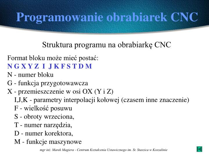 Programowanie obrabiarek CNC