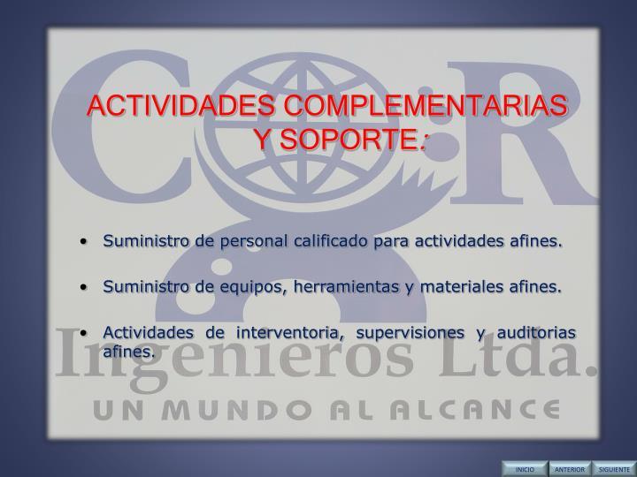 ACTIVIDADES COMPLEMENTARIAS  Y SOPORTE