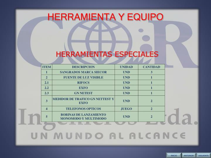 HERRAMIENTA Y EQUIPO