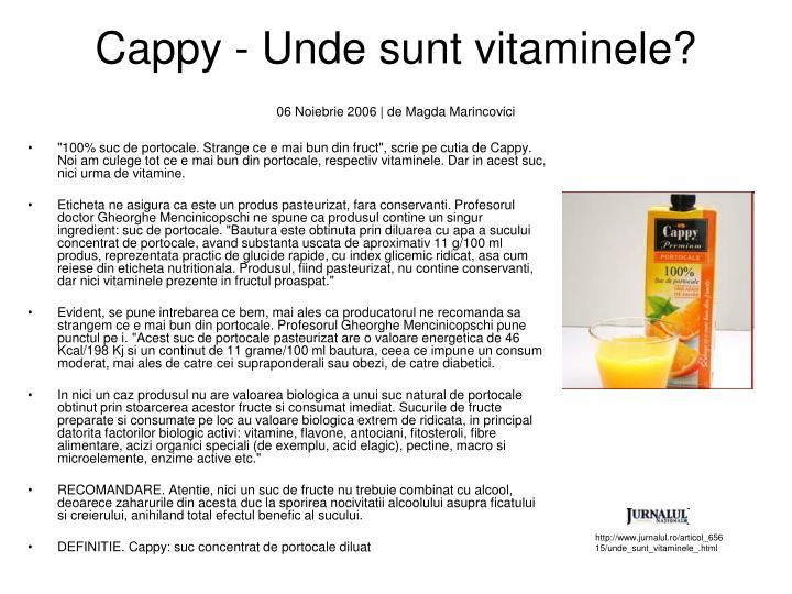 Cappy - Unde sunt vitaminele?