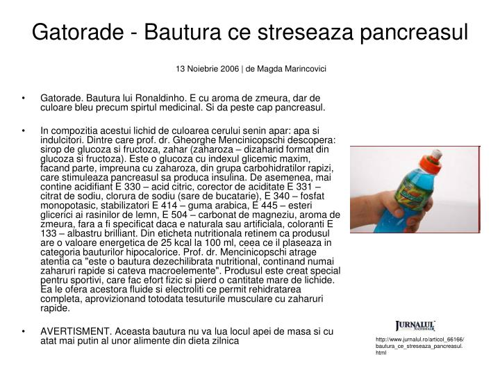 Gatorade - Bautura ce streseaza pancreasul
