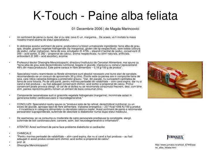 K-Touch - Paine alba feliata