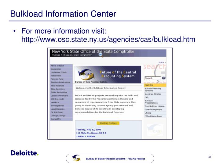 Bulkload Information Center