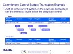 commitment control budget translation example