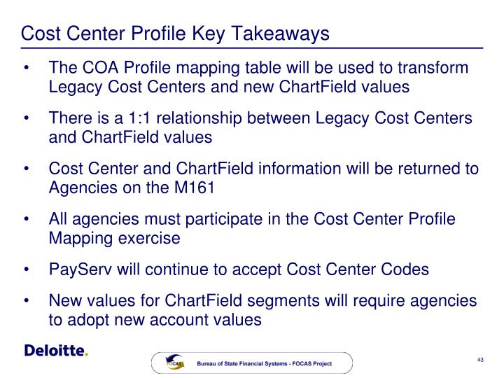 Cost Center Profile Key Takeaways