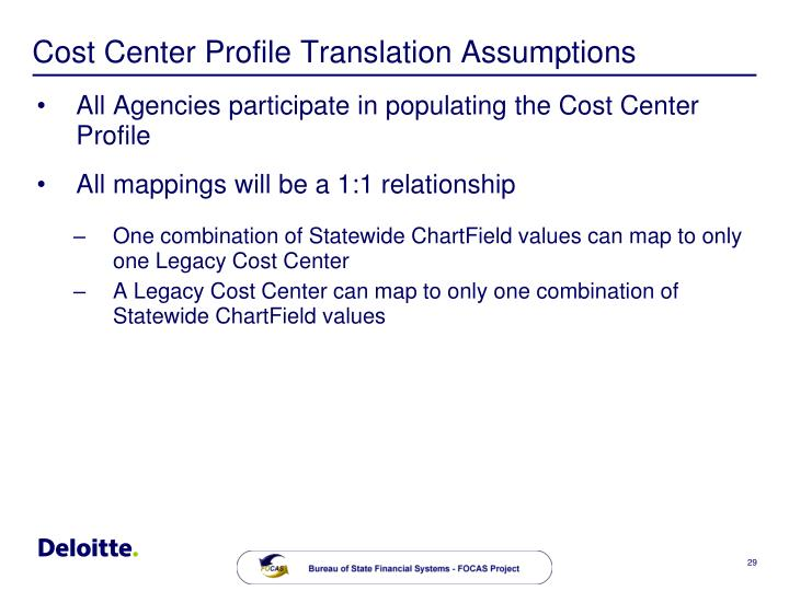 Cost Center Profile Translation Assumptions