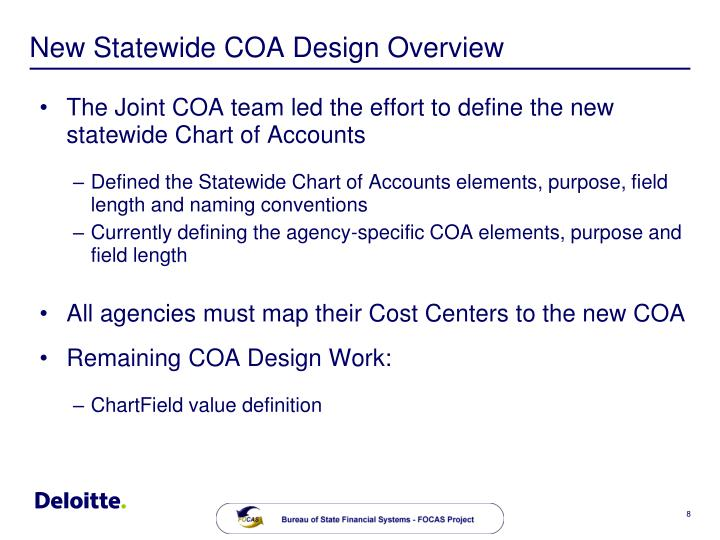New Statewide COA Design Overview