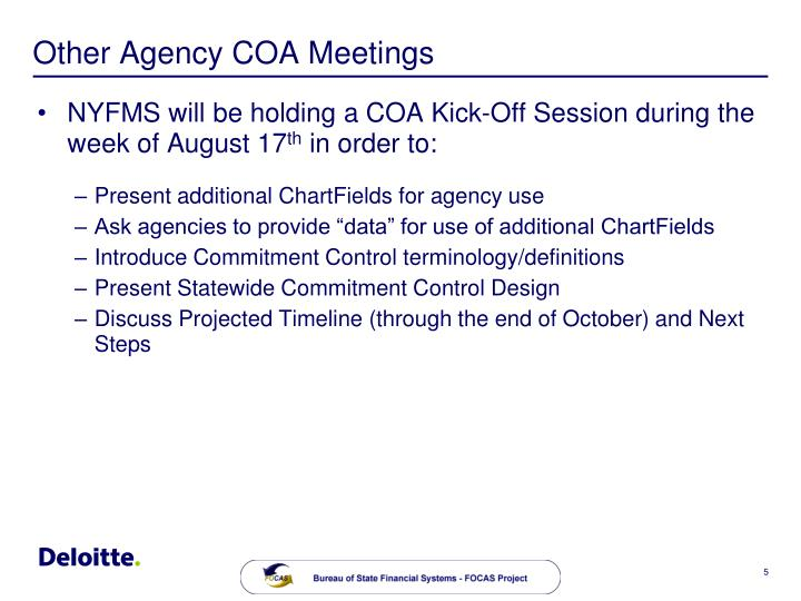 Other Agency COA Meetings
