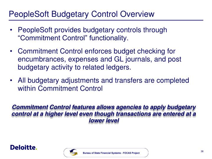 PeopleSoft Budgetary Control Overview