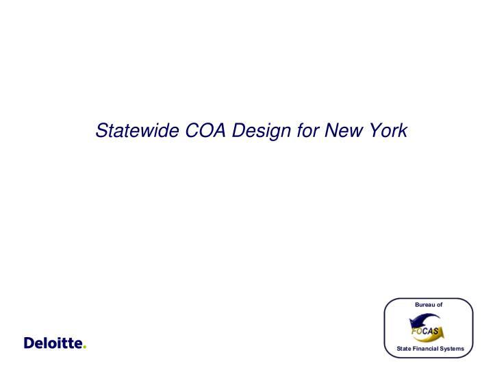 Statewide COA Design for New York