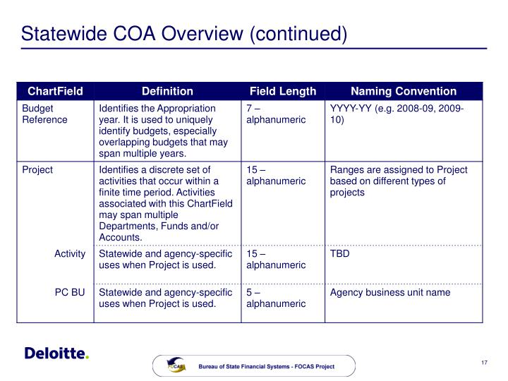 Statewide COA Overview (continued)