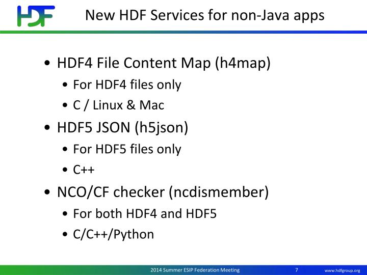 New HDF Services for non-Java apps
