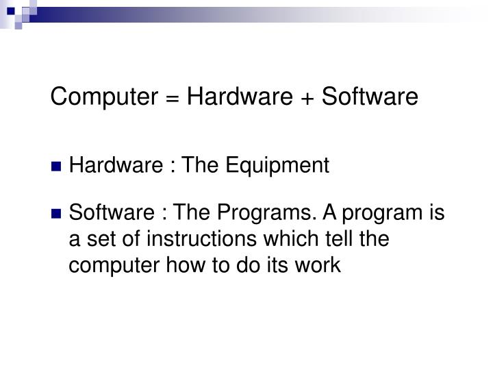 Computer = Hardware + Software