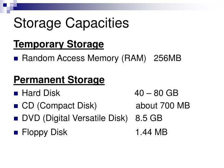 Storage Capacities