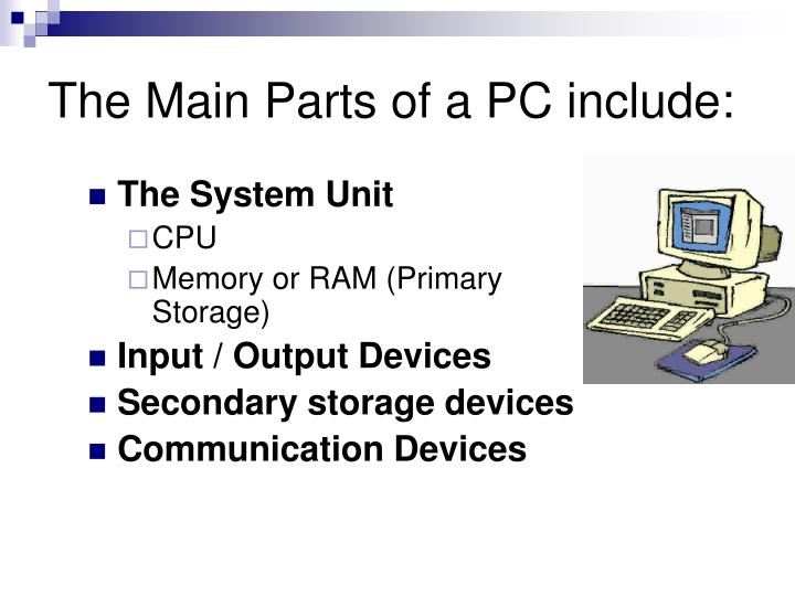 The Main Parts of a PC include:
