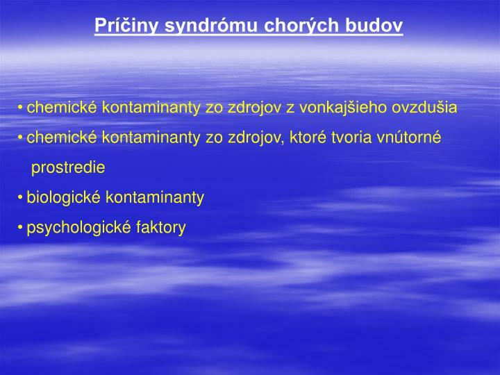 Príčiny syndrómu chorých budov