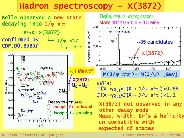 Hadron spectroscopy – X(3872)