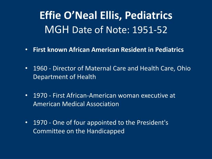Effie O'Neal Ellis, Pediatrics