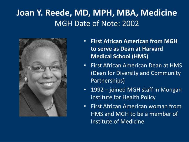 Joan Y. Reede, MD, MPH, MBA, Medicine