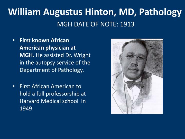 William Augustus Hinton, MD, Pathology