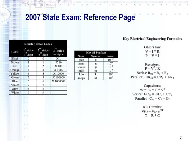 2007 State Exam: Reference Page
