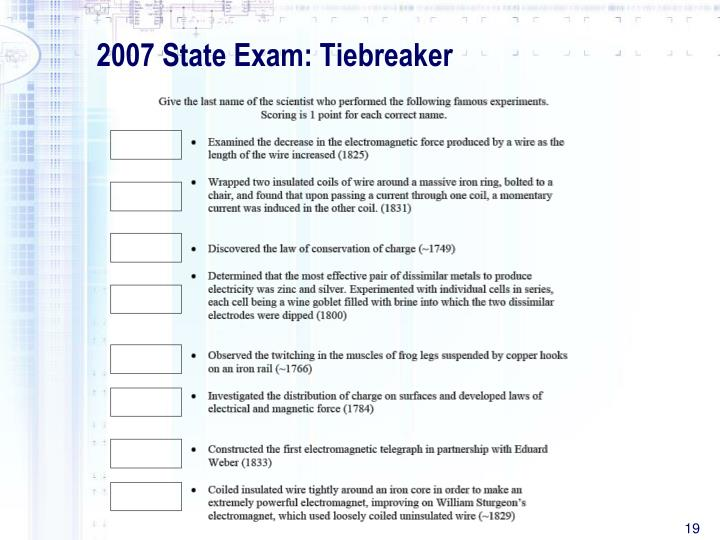 2007 State Exam: Tiebreaker