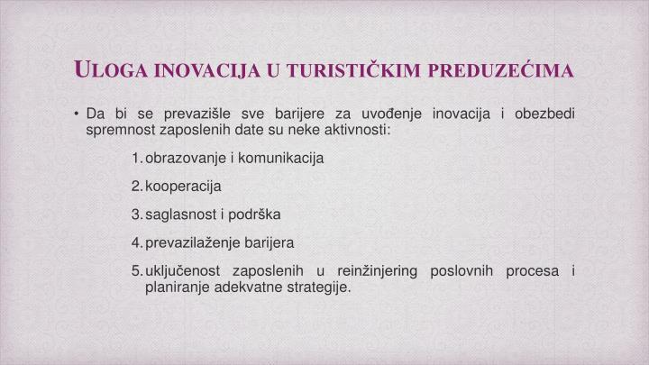 Uloga inovacija u turističkim preduzećima
