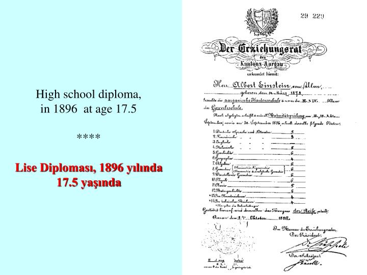 High school diploma,