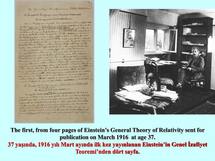 The first, from four pages of Einstein's General Theory of Relativity