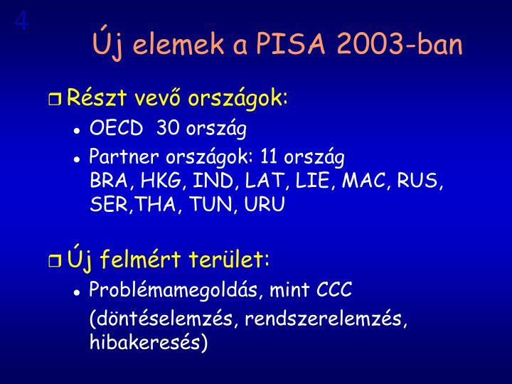 Új elemek a PISA 2003-ban