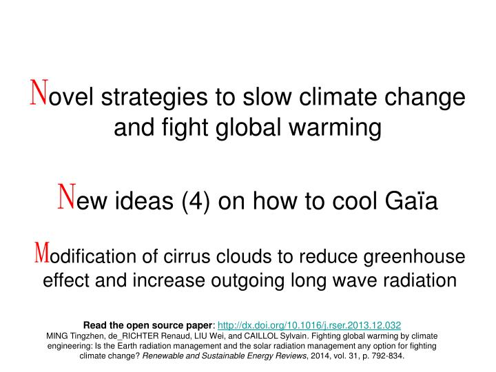 N ovel strategies to slow climate change and fight global warming n ew ideas 4 on how to cool ga a