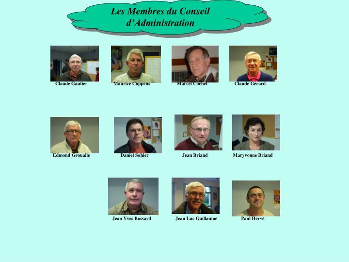 Les Membres du Conseil d'Administration