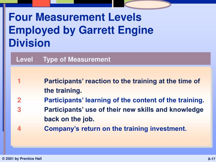 Four Measurement Levels Employed by Garrett Engine Division