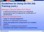 guidelines for using on the job training cont