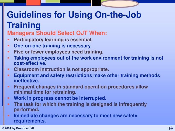Guidelines for Using On-the-Job Training