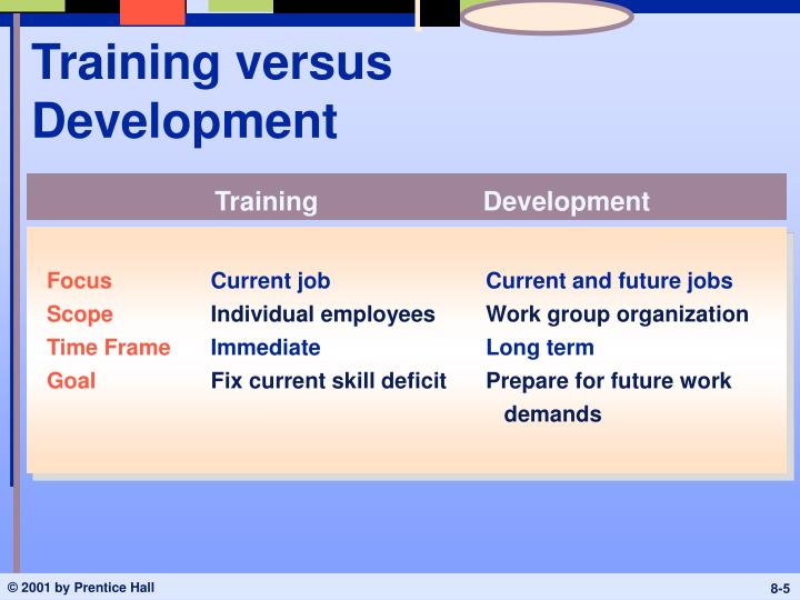 Training versus Development
