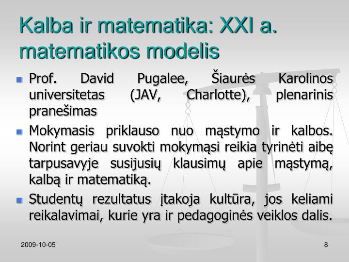 Kalba ir matematika: XXI a. matematikos modelis