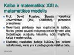 kalba ir matematika xxi a matematikos modelis