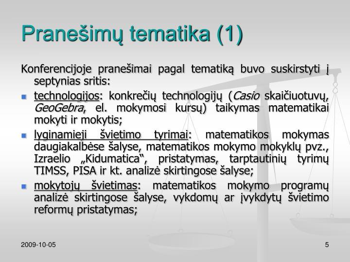 Pranešimų tematika (1)