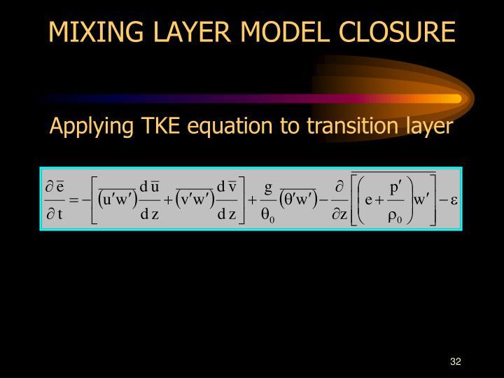 MIXING LAYER MODEL CLOSURE