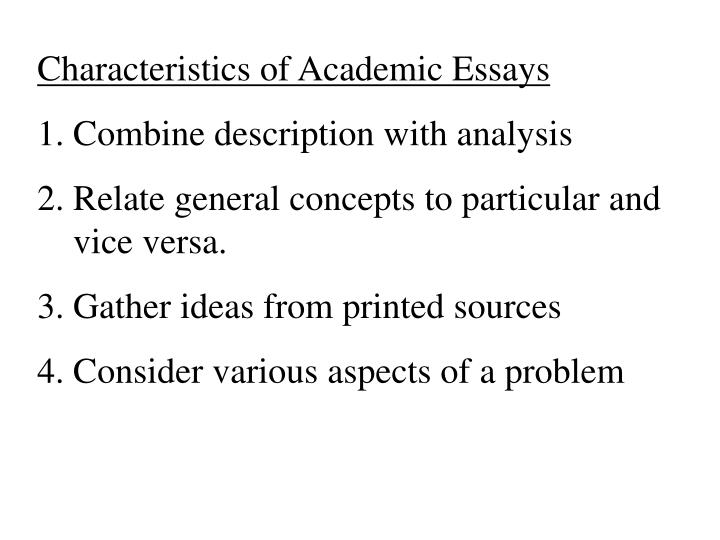 Characteristics of Academic Essays