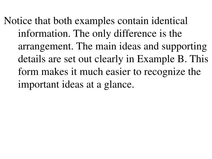 Notice that both examples contain identical information. The only difference is the arrangement. The main ideas and supporting details are set out clearly in Example B. This form makes it much easier to recognize the important ideas at a glance.