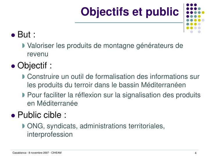 Objectifs et public