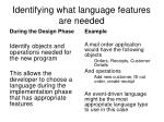 identifying what language features are needed