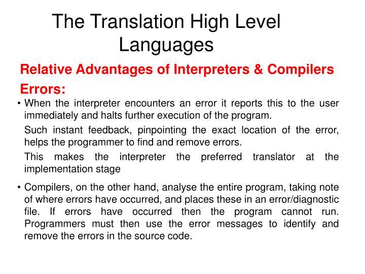 The Translation High Level Languages