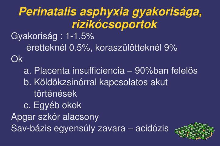 Perinatalis asphyxia gyakorisága, rizikócsoportok
