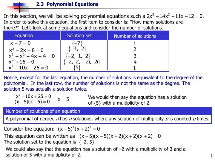 "In order to solve this equation, the first item to consider is: ""How many solutions are there?""  Let's look at some equations and consider the number of solutions."