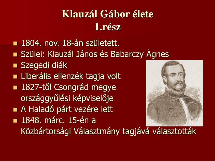 Klauzál Gábor élete