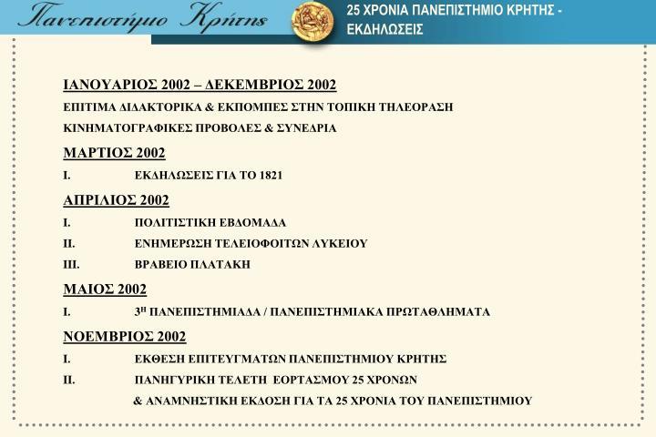 25 ΧΡΟΝΙΑ ΠΑΝΕΠΙΣΤΗΜΙΟ ΚΡΗΤΗΣ -